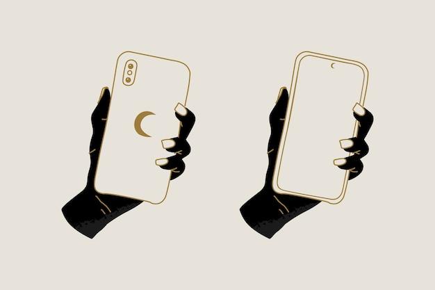 Mãos místicas segurando um telefone e lua crescente imprimem abstrato moderno com estilo mágico
