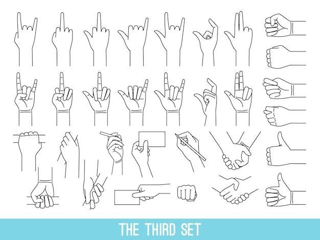 Mãos mostrando conjunto de ilustrações de contorno de gestos. braço segurando a barra, cliparts isolados do corrimão no fundo branco.
