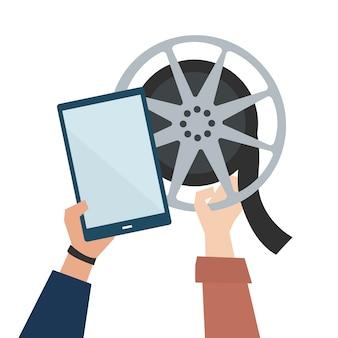 Mãos, mostrando, filme online, ilustração