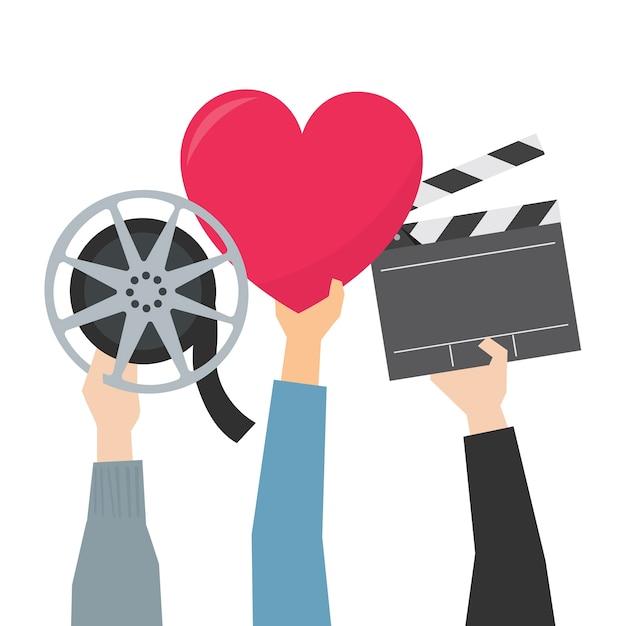 Mãos, mostrando, filme, paixão, ilustração