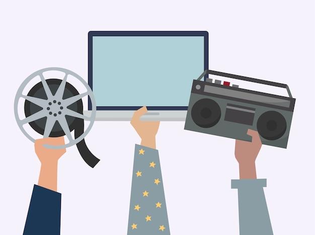 Mãos, mostrando, online, entretenimento, mídia, itens, ilustração