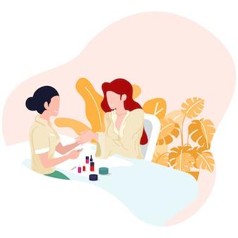 Mãos mulher, recebendo, um, manicure, em, salão de beleza, e, spa