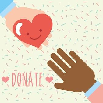 Mãos multiétnicas coração amor kawaii doar caridade