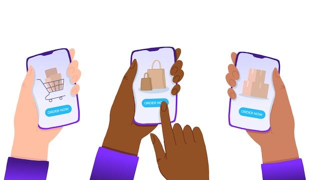 Mãos multirraciais segurando um smartphone com o botão de ordem agora na tela. Vetor Premium