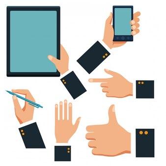 Mãos negócio, com, tabuleta, e, smartphone, cobrança