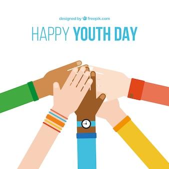 Mãos no design plano do fundo do dia da juventude