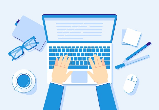 Mãos no laptop. trabalho no computador, trabalhador de negócios, digitando no teclado do notebook e ilustração de local de trabalho de escritório