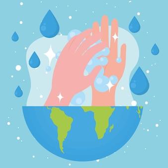 Mãos no mundo com gotas