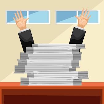 Mãos ocupadas com a papelada