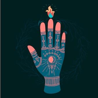 Mãos ornamentadas com símbolos sagrados