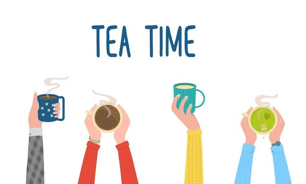 Mãos para a hora do chá segurando uma bebida quente em xícaras cafeteira, vista superior de uma mesa em um vetor de café