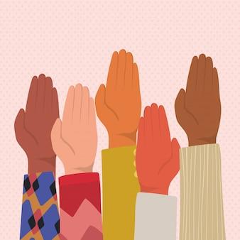 Mãos para cima com a palma da mão fechada de diferentes tipos de design de skins, diversidade, raça multiétnica e tema comunitário