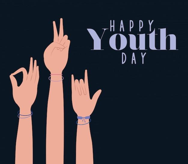 Mãos para cima do feliz dia da juventude