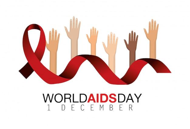 Mãos para cima e fita vermelha para o dia do sida