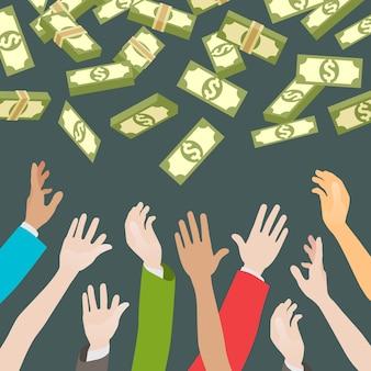 Mãos, pegando dinheiro caindo de cima