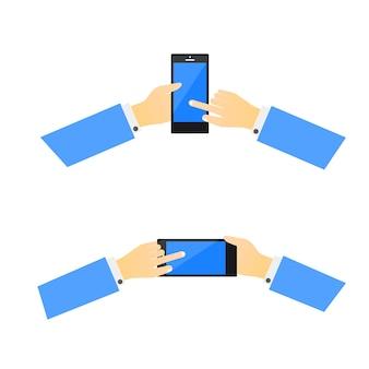 Mãos pegando telefone