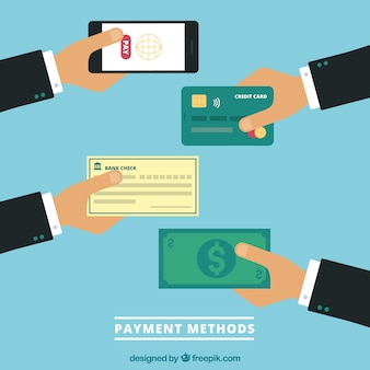 Mãos planas com métodos de pagamento