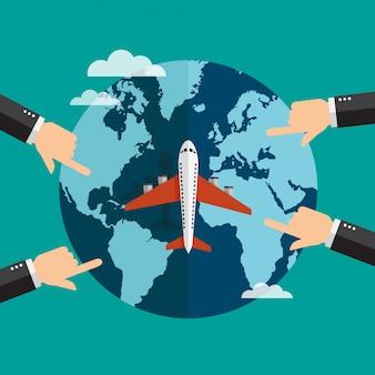 Mãos, ponto, lugares, ligado, terra globo, com, avião, voando