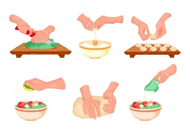 Mãos preparando a ilustração da refeição