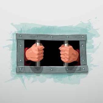 Mãos presas atrás de barras de metal em branco