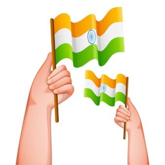 Mãos que prendem a bandeira indiana no fundo branco.
