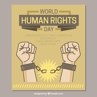 Mãos que quebram as cadeias, os direitos humanos dia