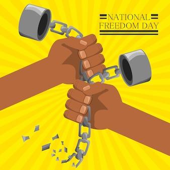 Mãos quebradas de corrente para celebrar o dia da liberdade