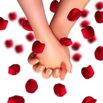 Mãos realistas de amantes e pétalas de rosa. conceito de amor