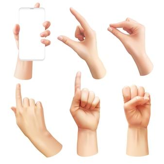 Mãos realistas. diferentes mãos humanas mostrando sinais, apontando o dedo, comunicação interativa e gestos de interface, segurar o smartphone e controlar o conjunto de vetor 3d do telefone