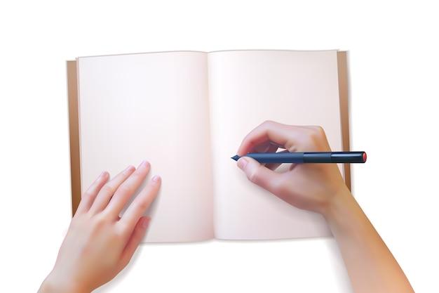 Mãos realistas escrevem em um caderno aberto