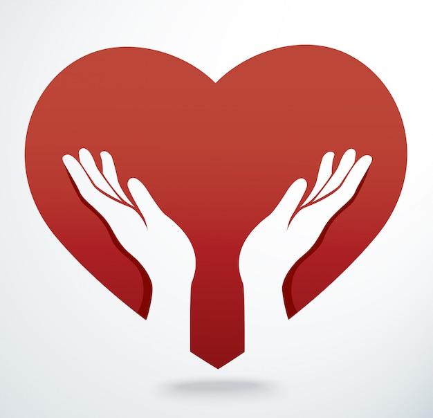 Mãos rezam em um vetor de forma de coração
