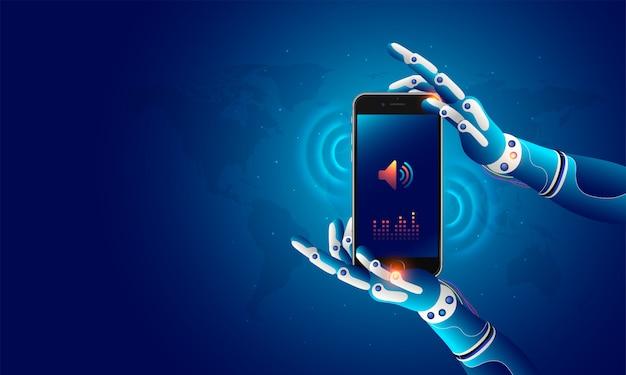Mãos robóticas segurando um celular.
