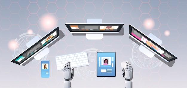 Mãos robóticas usando dispositivos digitais rosto digitalização reconhecimento reconhecimento bot sistema de segurança identificação artificial