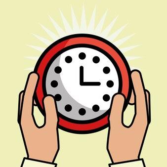 Mãos segurando a ilustração de vetor de serviço ao cliente de relógio