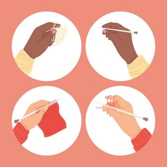 Mãos segurando agulhas de tricô em círculos