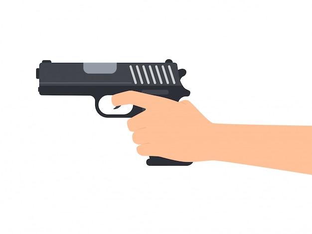 Mãos, segurando, arma