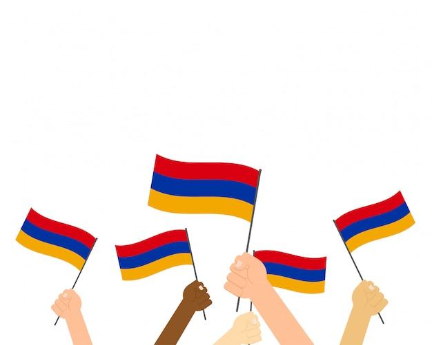 Mãos, segurando, arménia, bandeiras