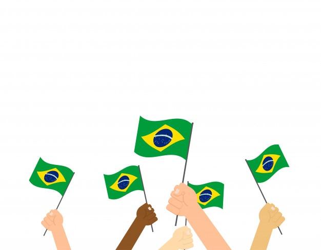 Mãos segurando bandeiras do brasil