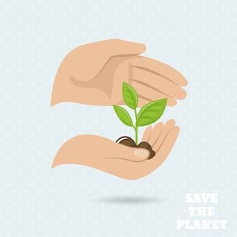 Mãos segurando broto de plantas salvar o planeta terra proteger poster ilustração vetorial