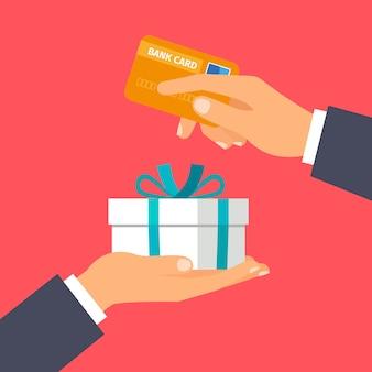 Mãos, segurando, cartão crédito, e, presente