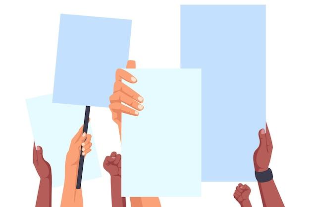 Mãos segurando cartazes