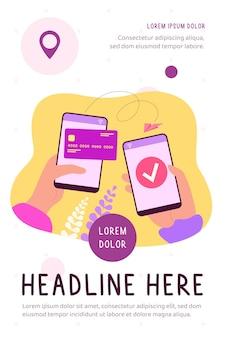 Mãos segurando celulares e enviando dinheiro com ilustração plana de carteira eletrônica