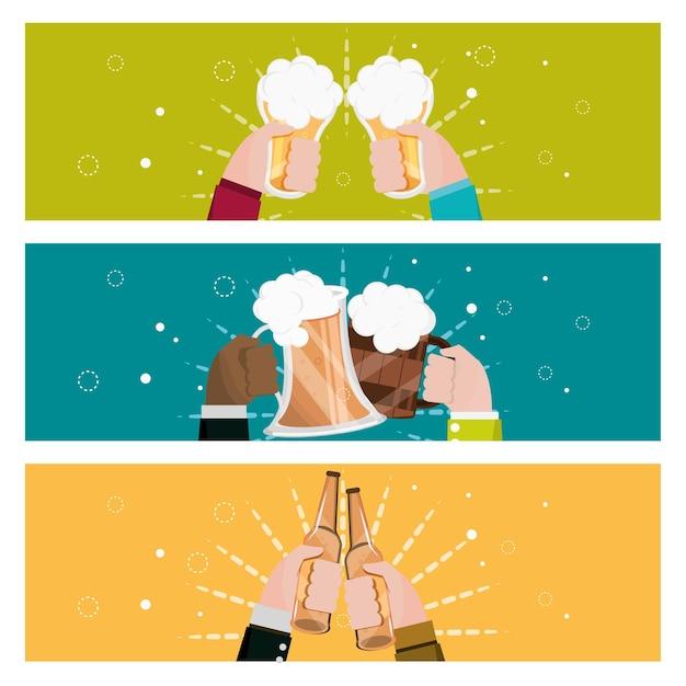 Mãos segurando cervejas
