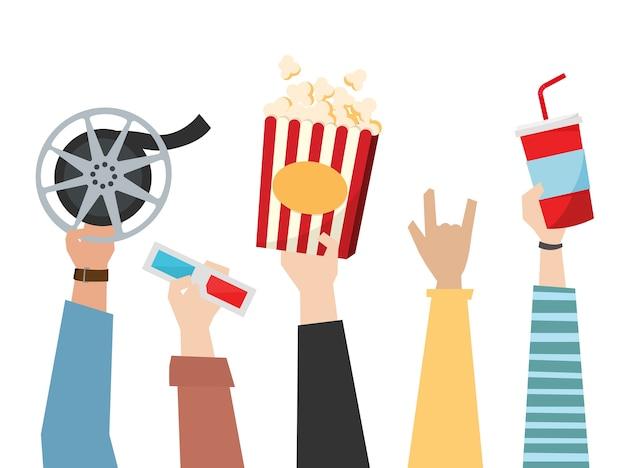Mãos, segurando, cinema, themed, itens, ilustração