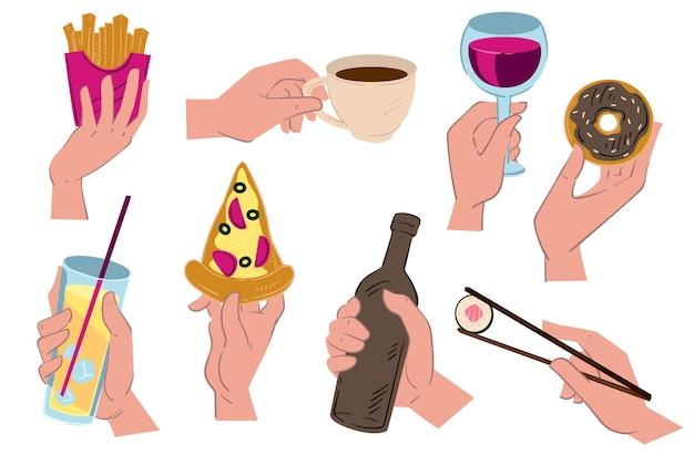 Mãos segurando comida e bebida, café e pizza