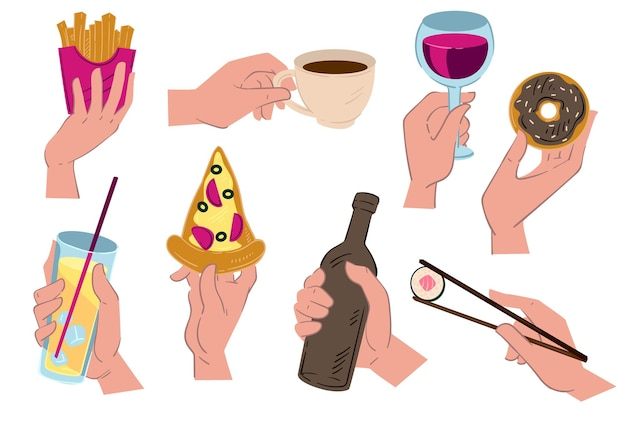 Mãos segurando comidas e bebidas, café e pizza