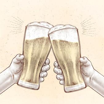 Mãos segurando copos de cerveja e torcendo umas com as outras em estilo gravado nas cores bege e amarelo