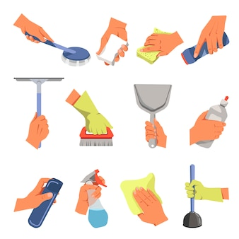 Mãos segurando diferentes ferramentas de limpeza vector conjunto de ícones plana