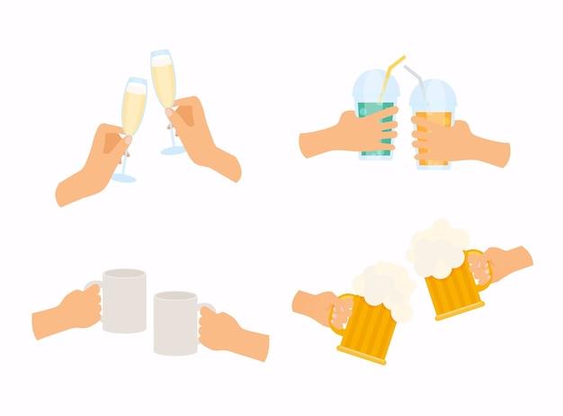 Mãos segurando diferentes tipos de óculos