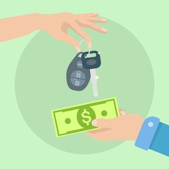 Mãos segurando dinheiro e a chave do carro